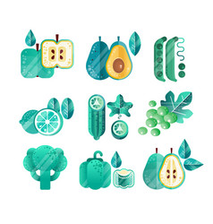 set green fruits and vegetables with gradients vector image