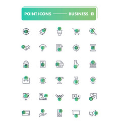 set of 30 line icons business vector image