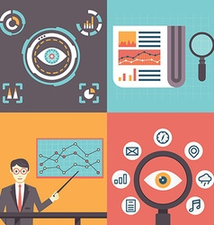 Set of analytics information and data handling vector image
