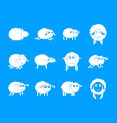 Sheep cute lamb farm icons set simple style vector