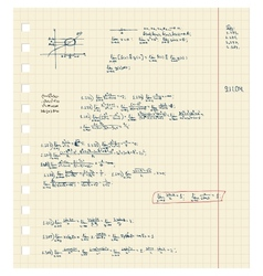 Sheet notebook with maths lecture vector