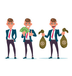 smiling businessman character hold money bags vector image