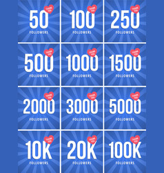 Social media banner with thank you for 50100k vector