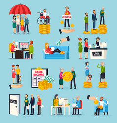 social security orthogonal icons set vector image