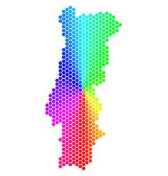spectrum hexagon portugal map vector image