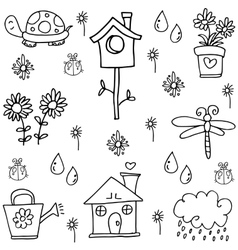 Spring doodles set with hand draw vector image