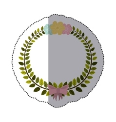 sticker border of leaves with pink bow and flowers vector image