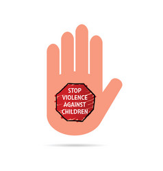 Stop violence against children sign on hand vector
