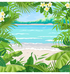 Summer background with tropical frame on sea coast vector
