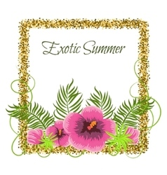 Summer Tropical Plants and Hibiscus Flowers in vector image