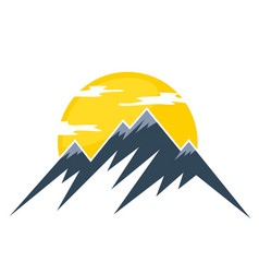 Sun logo and mountains vector