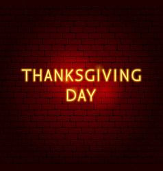 thanksgiving day neon sign vector image