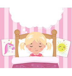 the little girl sleeps in the bed speech bubble vector image