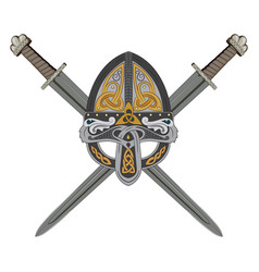 Viking helmet with two crossed swords and vector