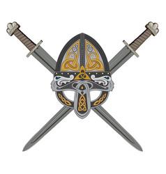 Viking helmet with two crossed swords vector