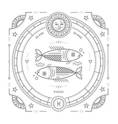 vintage thin line pisces zodiac sign label retro vector image