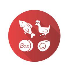 Vitamin b12 red flat design long shadow glyph vector