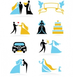 wedding people silhouettes set vector image
