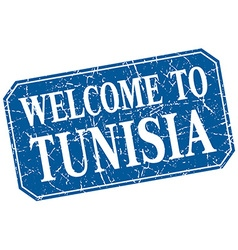 Welcome to Tunisia blue square grunge stamp vector