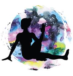 women silhouette marichis yoga pose marichyasana vector image