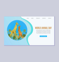 world animal day web banner wildlife animal zoo vector image