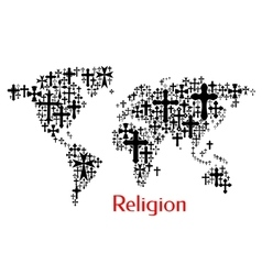 World map design of crucifix cross pattern vector image vector image