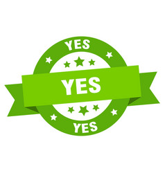 yes ribbon yes round green sign yes vector image