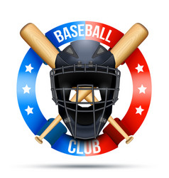 baseball catcher mask sign vector image vector image