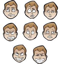 cartoon emotional faces male vector image vector image
