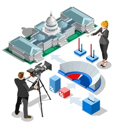 Election Infographic Us Capitol Isometric Building vector image