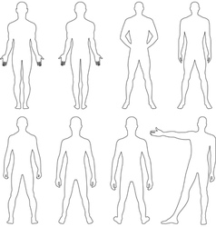 Full length front back silhouette of a man vector image vector image