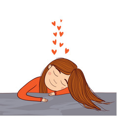 girl dreaming in love with red hearts vector image
