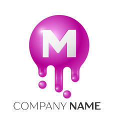 m letter splash logo purple dots and bubbles vector image