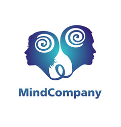 Modern head logo of psychology profile human man vector
