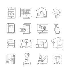 Program Development Line Icon Set vector image