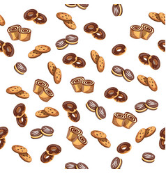 seamless pattern with glazed donuts and biscuit vector image vector image