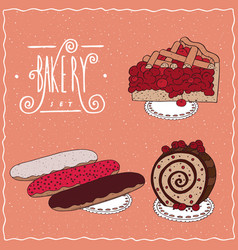 bakery set with red berries in cartoon style vector image