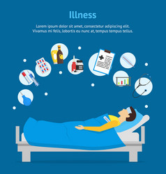 cartoon sick man in bed and element set card vector image vector image