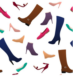 different types of women s shoes seamless pattern vector image