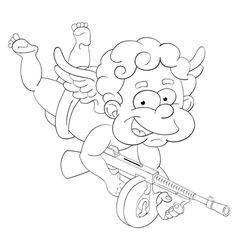 Funny little cupid with submachine gun vector image