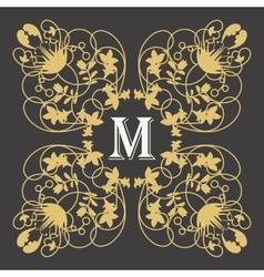 Gold monogram frame with letter m on dark vector