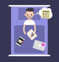 modern nightmare conceptual insomnia young man vector image