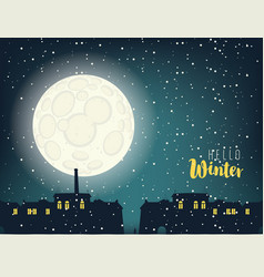 winter night cityscape with full moon and houses vector image vector image