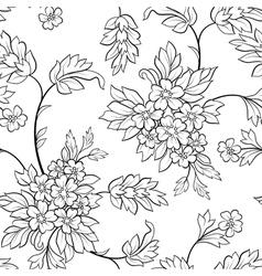 black outline flower seamless vector image vector image