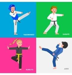 Cartoon kid wearing kimono martial art vector image