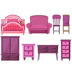 Furnitures in pink color vector image