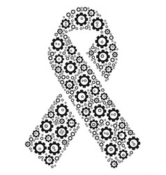 mourning ribbon collage of gear vector image vector image