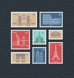 postage stamps with line travelling city national vector image