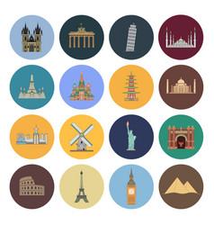 15 flat landmark icons vector image vector image