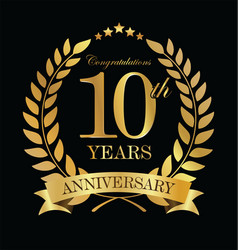 anniversary golden laurel wreath 10 years 2 vector image vector image